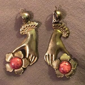 Vintage clip on Victorian hand and flower earrings